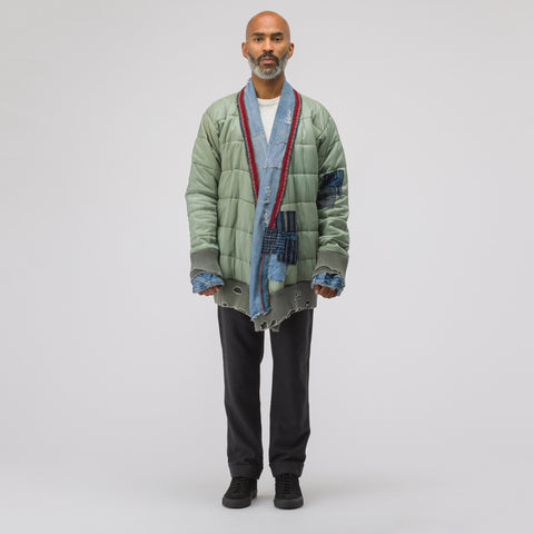 Greg Lauren Army Ripstop/Vintage Denim/Blanket Puffy Kimono in Army/Blue - Notre