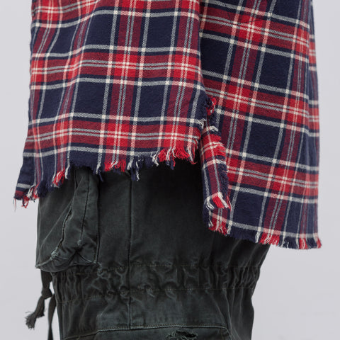Greg Lauren Canyon Flannel Studio Shirt in Navy/Red - Notre