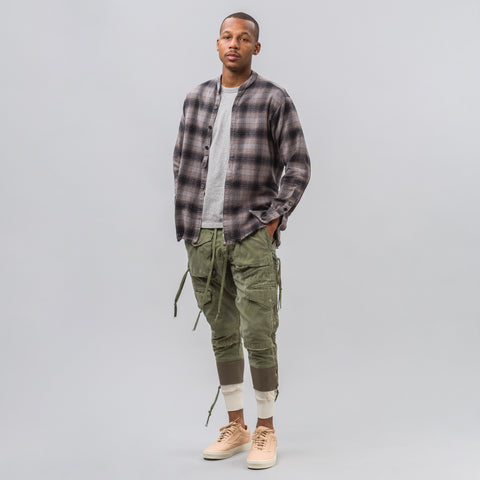 Greg Lauren Pebble Flannel Studio Shirt in Grey - Notre