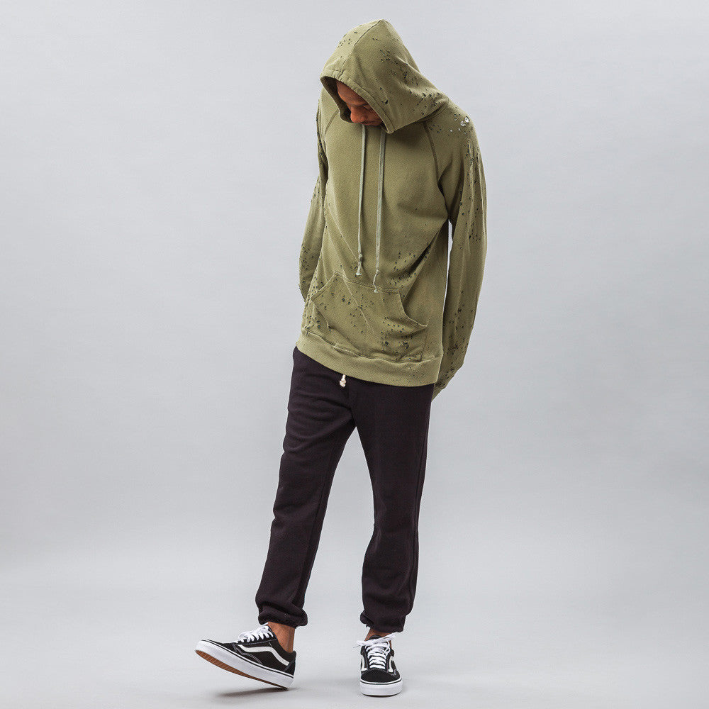 Greg Lauren - Destroyed Fleece Hoodie in Army Green - Notre - 1