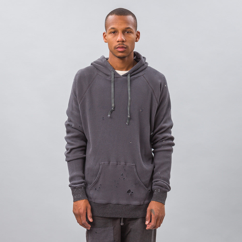 Greg Lauren Destroyed Thermal Hoodie with Pouch in Charcoal Model Shot
