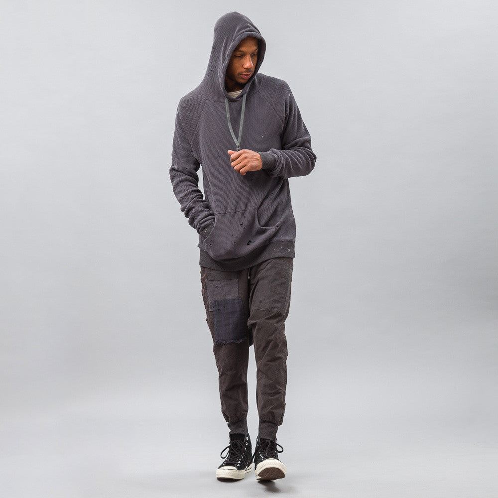 Greg Lauren - Destroyed Thermal Hoodie with Pouch in Charcoal - Notre - 1
