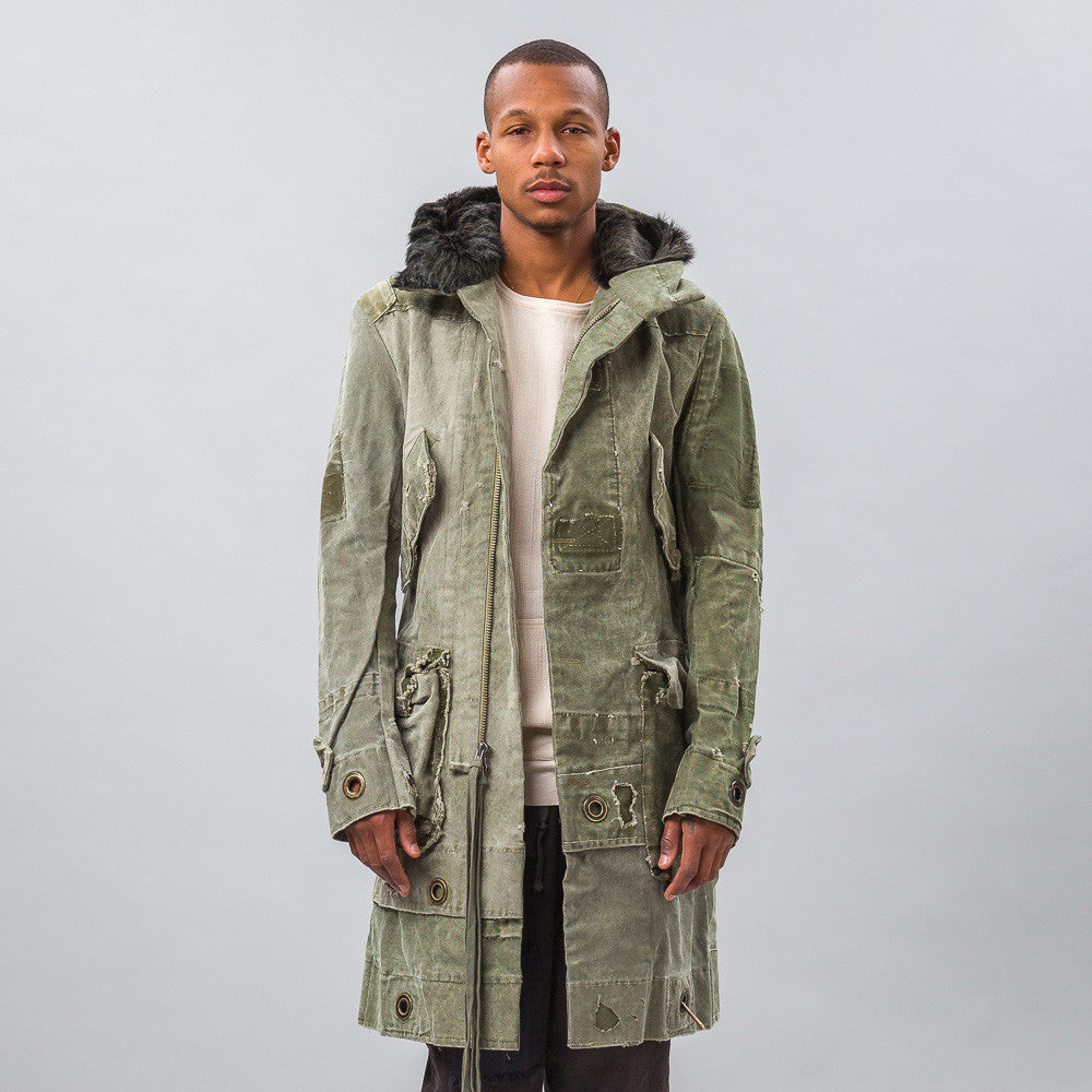 Greg Lauren Army Duffle Parka With Shearling Hood in Green Model Shot