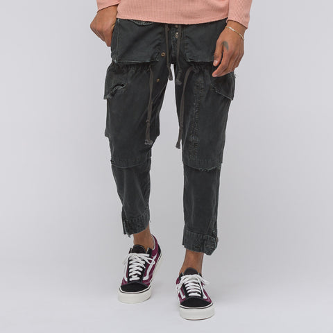 Greg Lauren GL Cargo Lounge Pant in Black Boat Sateen - Notre