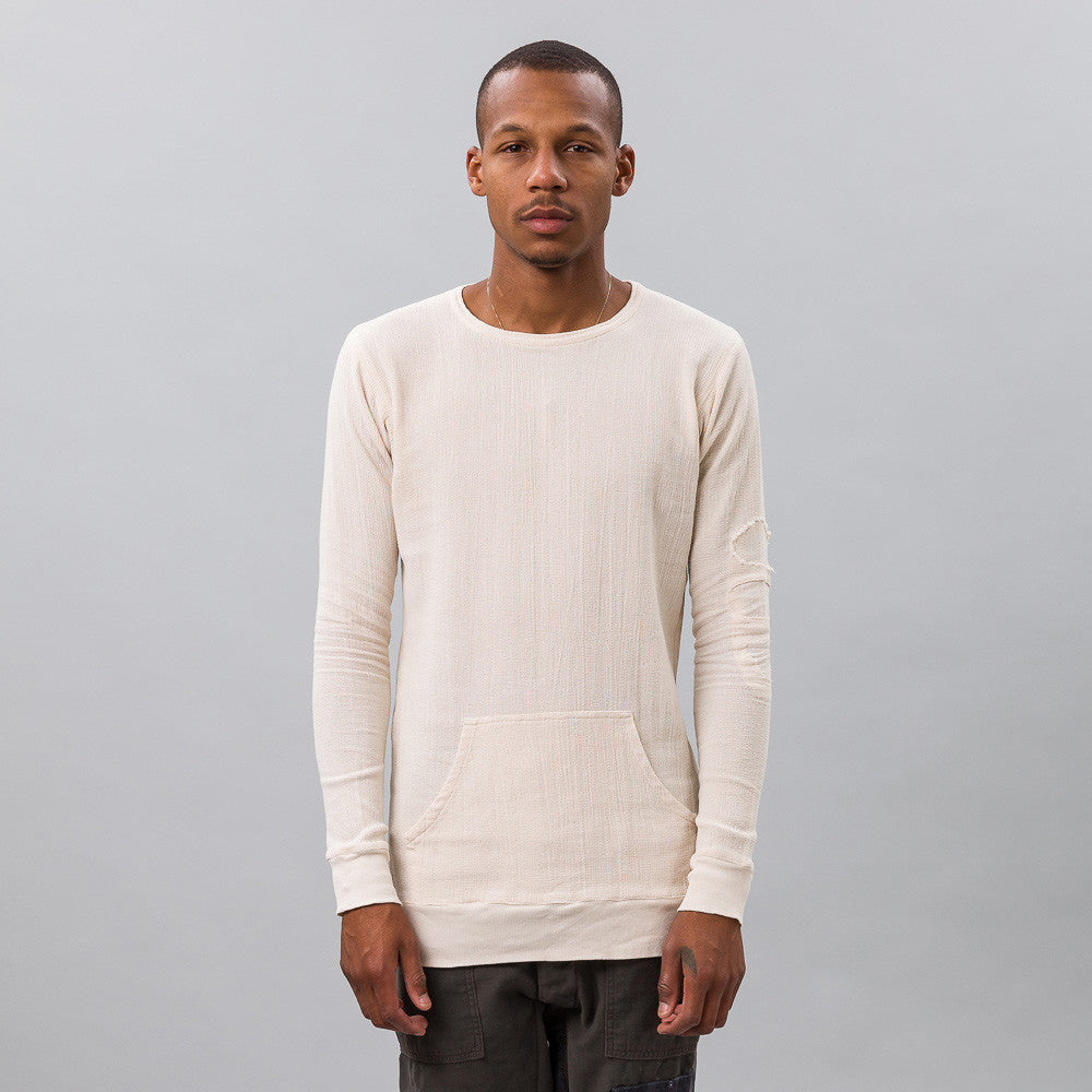 Greg Lauren - Large Open Weave L/S Slim Fit Tee in Ivory - Notre - 1
