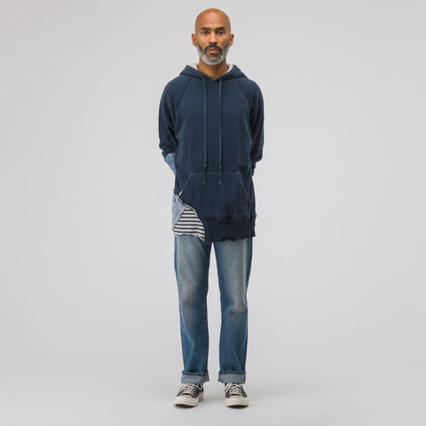 Greg Lauren Navy Fleece Mixed Media Hoodie in Navy/Cream/Blue - Notre