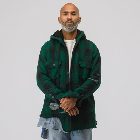 Greg Lauren Sherpa Lined Baja Studio Hoodie in Hunter/Black - Notre