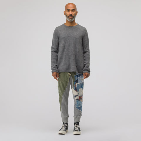 Greg Lauren Sleeping Bag/Fleece Heavy Patchwork Slim Lounge Pant in Army/Grey - Notre