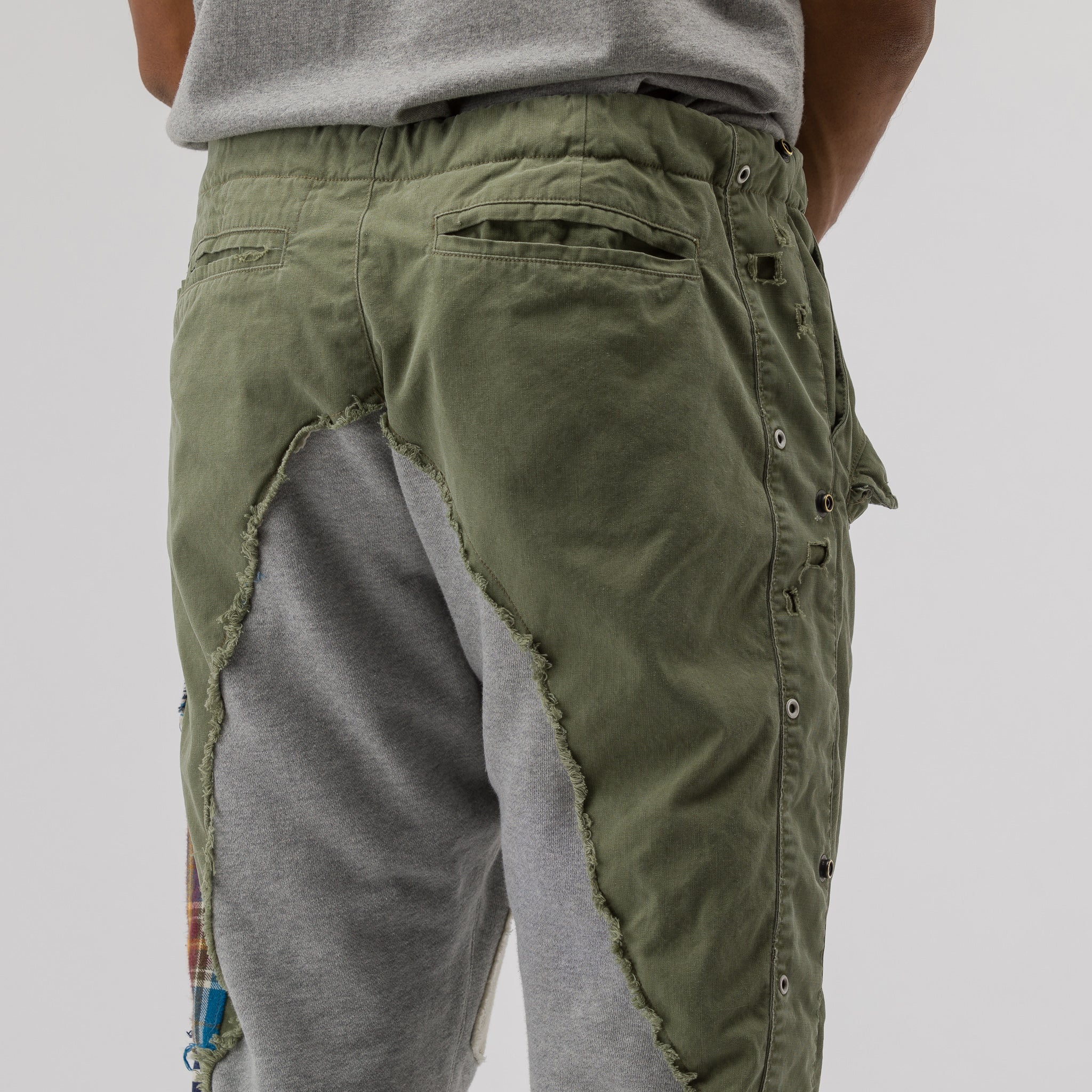 Sleeping Bag/Fleece Heavy Patchwork Slim Lounge Pant in Army/Grey