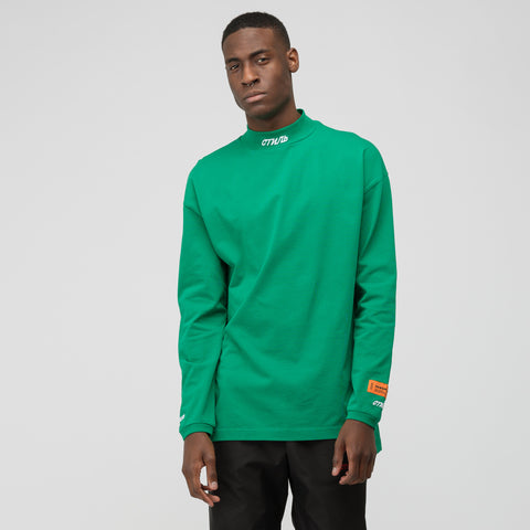Heron Preston CTNMB Embroidered Long Sleeve Turtleneck in Green/White - Notre
