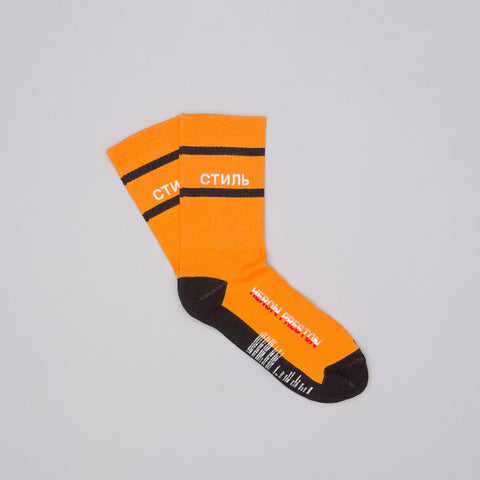 "Heron Preston CTNMB ""Style"" Socks in Orange - Notre"