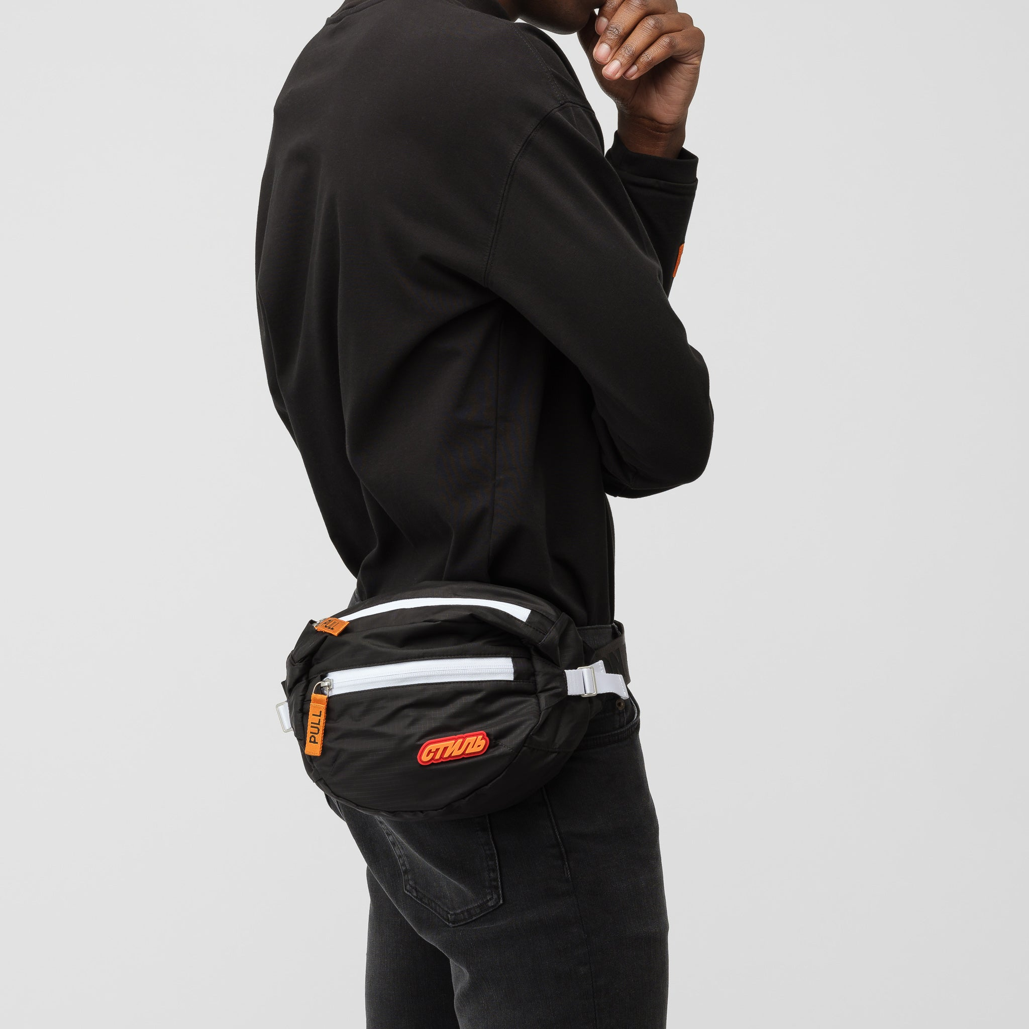 CTNMB Padded Fanny Pack in Black/Orange