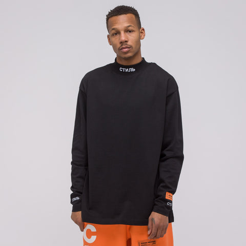 Heron Preston CTNMB Mockneck Shirt in Black/White - Notre