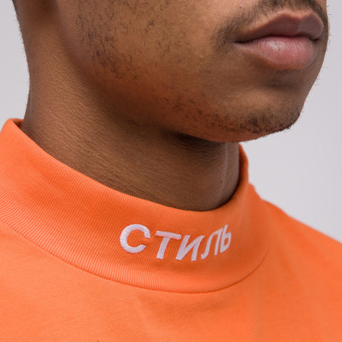 Heron Preston CTNMB Mockneck Shirt in Orange/White - Notre