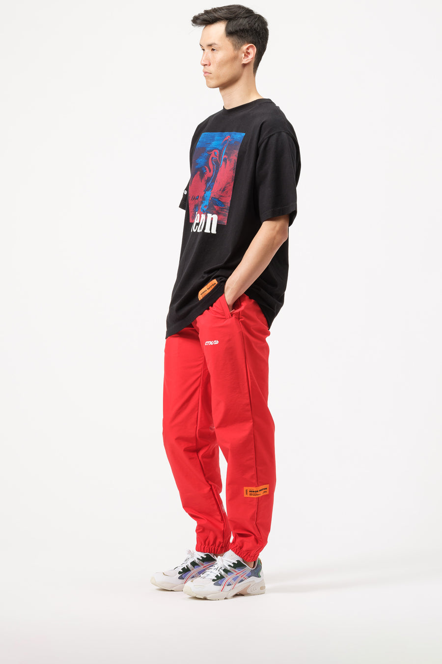 Heron Preston Elastic Nylon Pants Tape Red in Red - Notre
