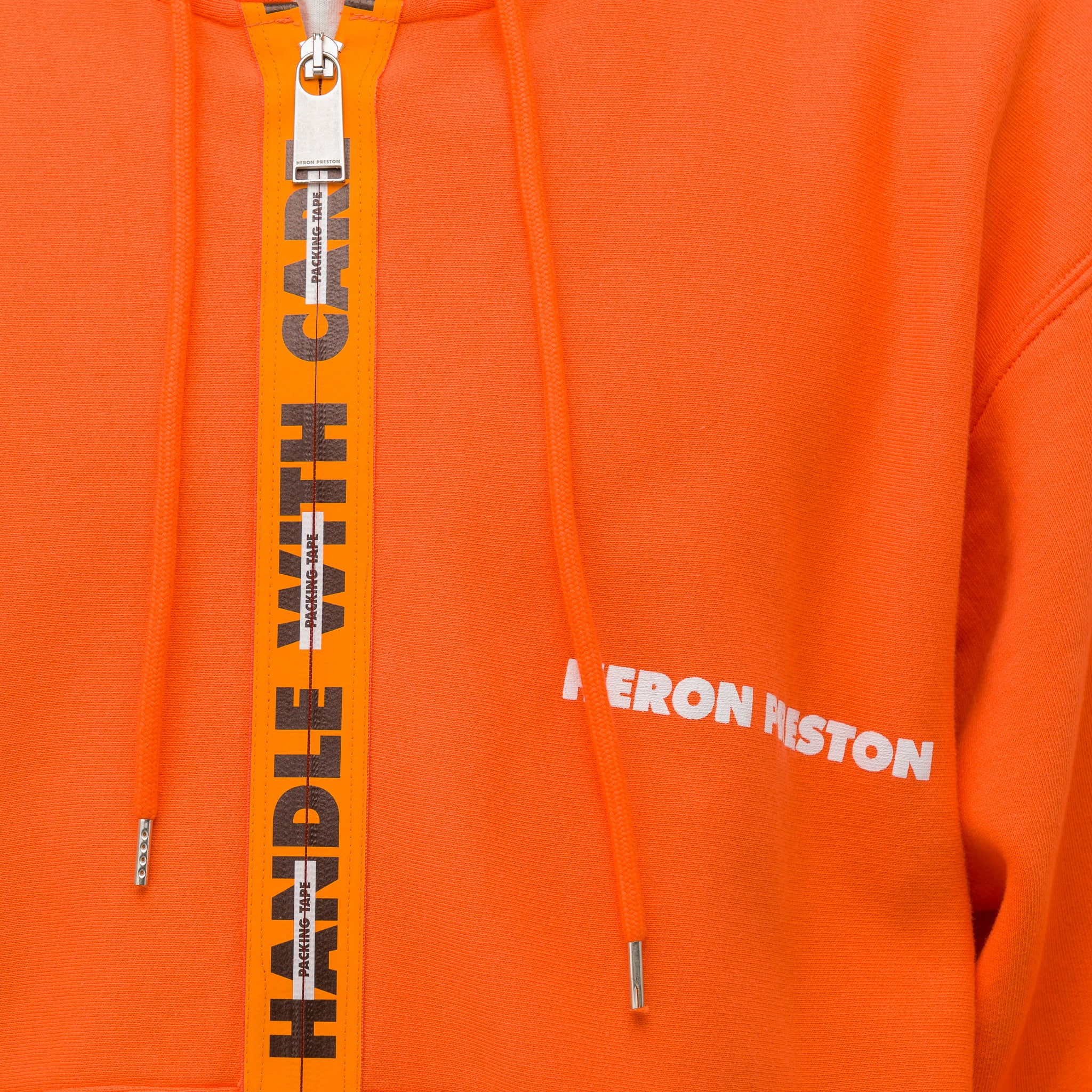 Handle Zip Hooded Sweatshirt in Orange