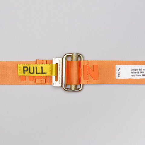 Heron Preston Jacquard Tape Belt in Orange/White - Notre