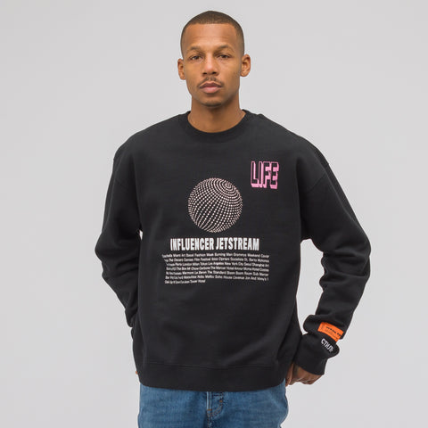 Heron Preston Jetstream Crewneck Sweatshirt in Black Crystal - Notre