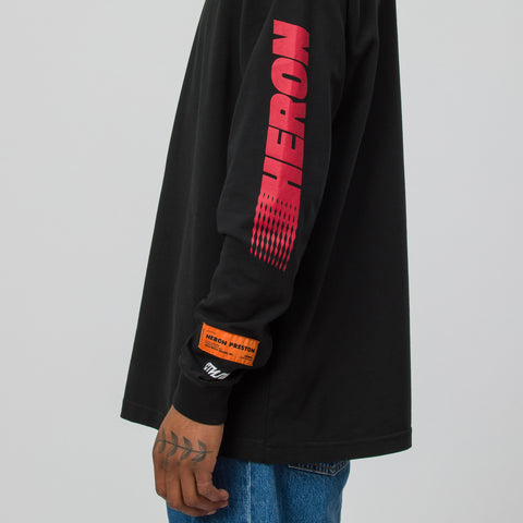Heron Preston Long Sleeve Heron Racing T-Shirt in Black/Red - Notre