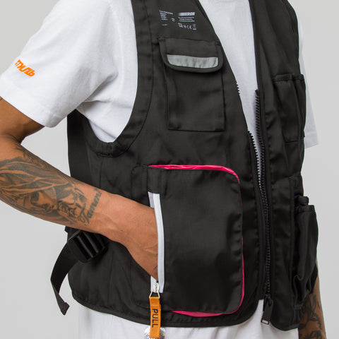 Heron Preston Nylon Tool Vest Jacket in Black/Pink - Notre