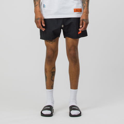 Heron Preston Reflective Swim Shorts in Black/Orange - Notre