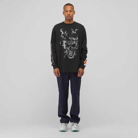 Heron Preston Skull Long Sleeve T-Shirt in Black/White - Notre