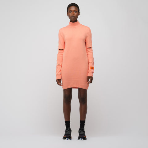Heron Preston Turtleneck Sweater Cuts Dress in Nude Salmon - Notre