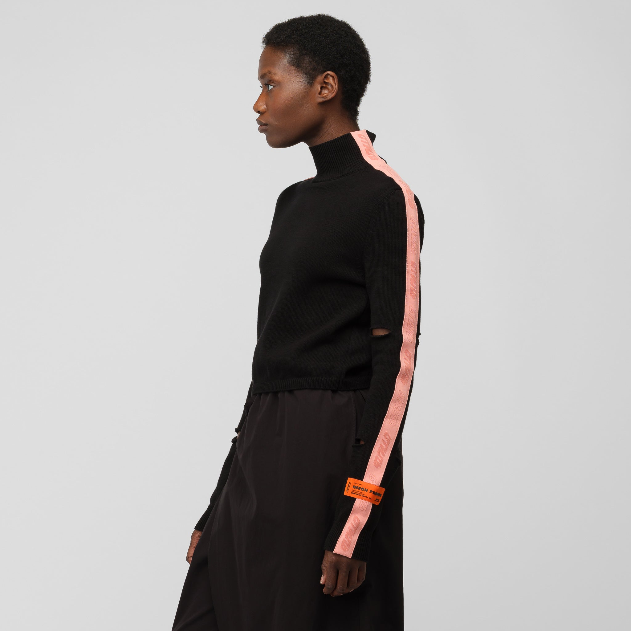 Turtleneck Cut-Out Sweater in Black Salmon