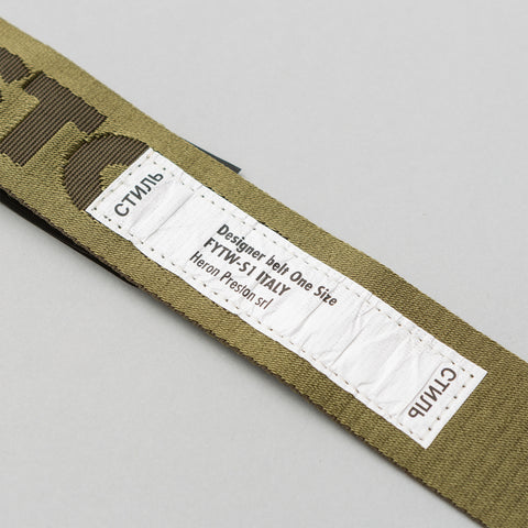 Heron Preston HP Jacquard Tape Belt in Military Green - Notre