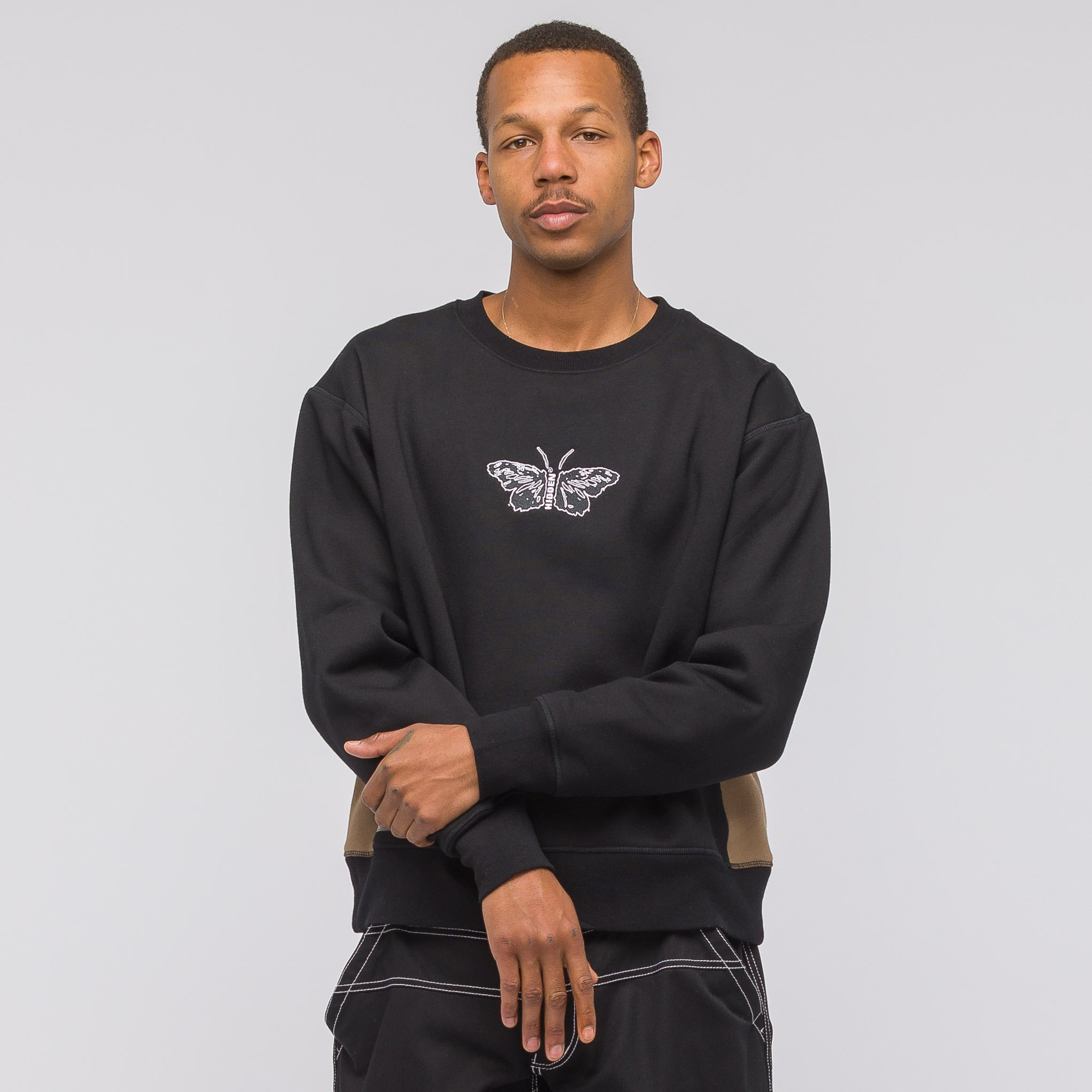 Butterfly Crewneck in Black/Brown