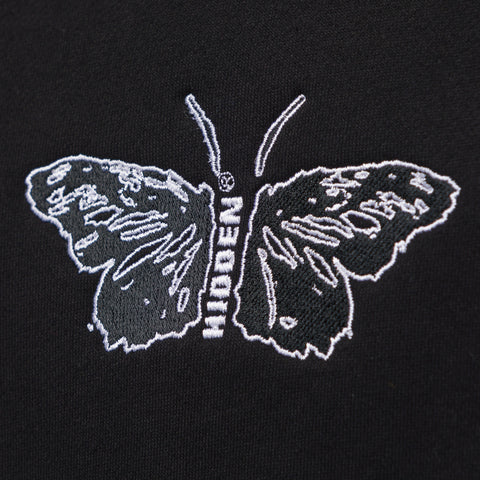 Hidden Characters Butterfly Crewneck in Black/Brown - Notre