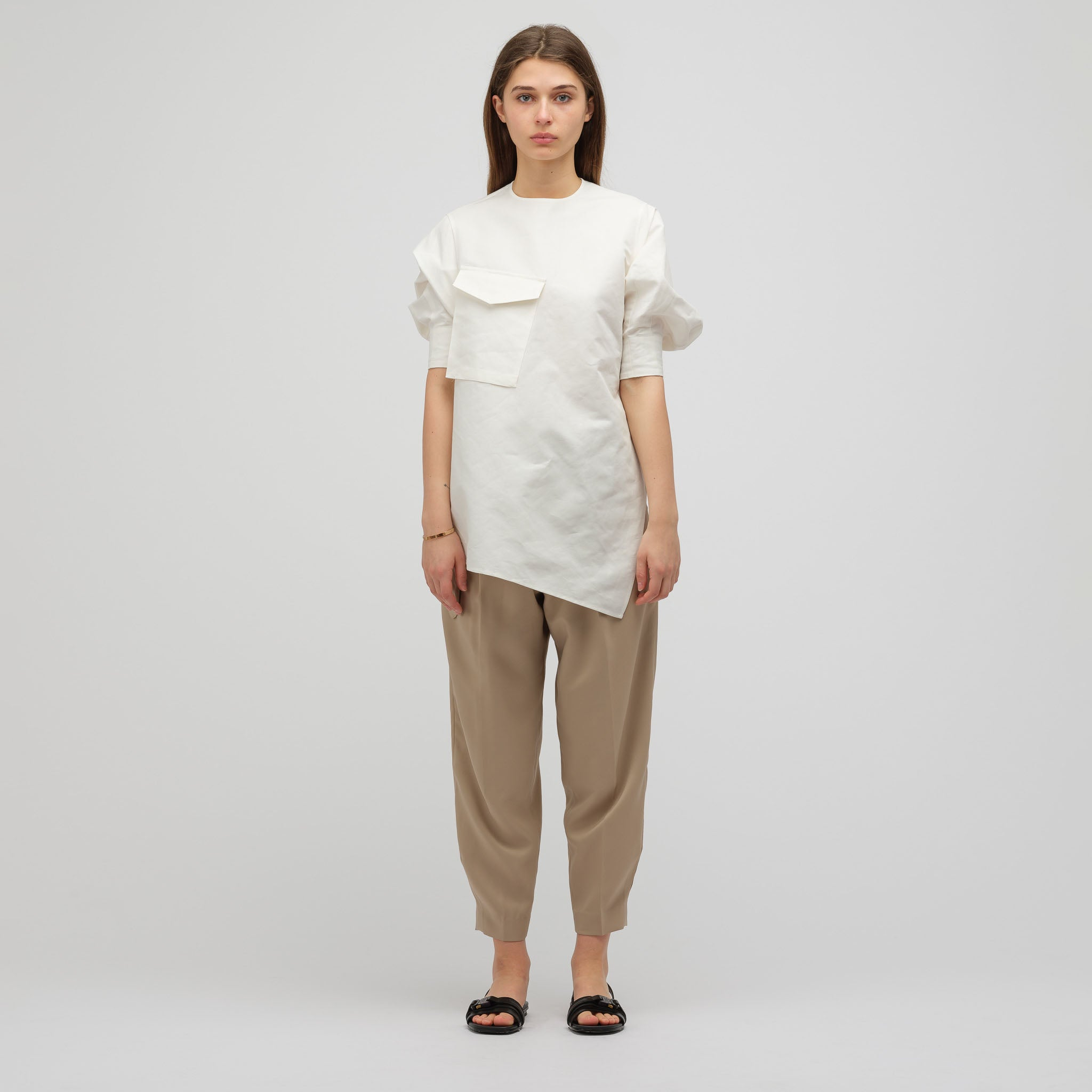820c27329f8 HYKE Asymmetrically Draped Tunic Shirt in White | Notre