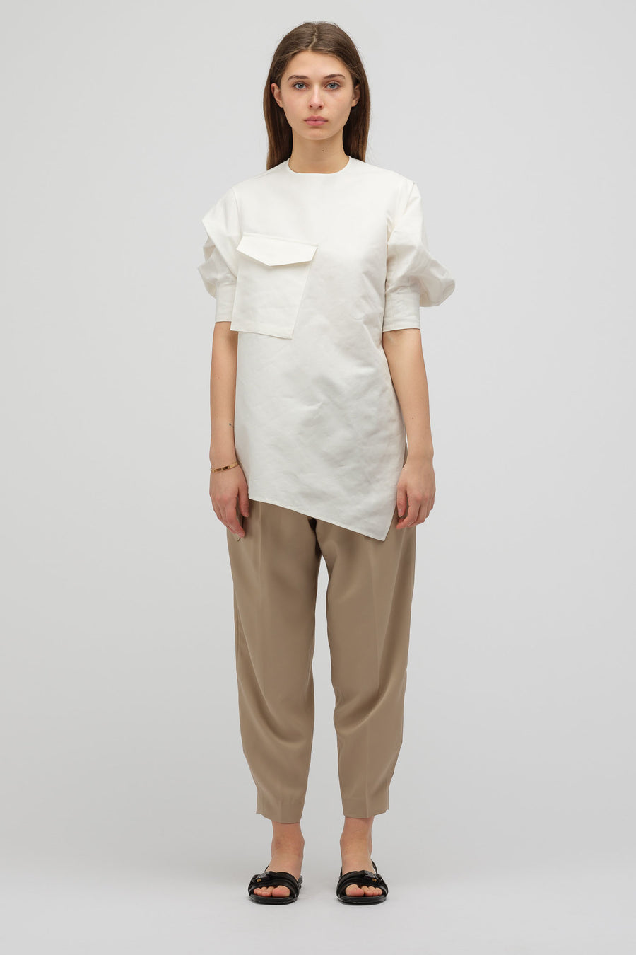 HYKE Asymmetrically Draped Tunic Shirt in White - Notre