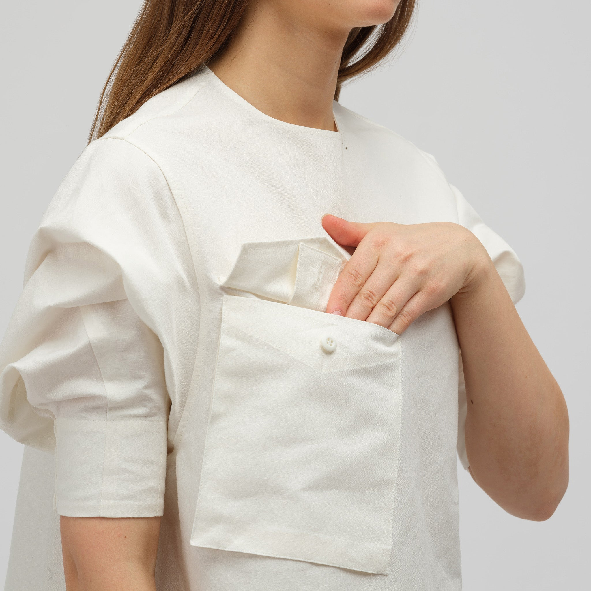 Asymmetrically Draped Tunic Shirt in White