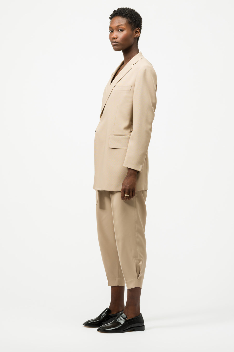 HYKE Double-Breasted Sport Coat in Tan - Notre