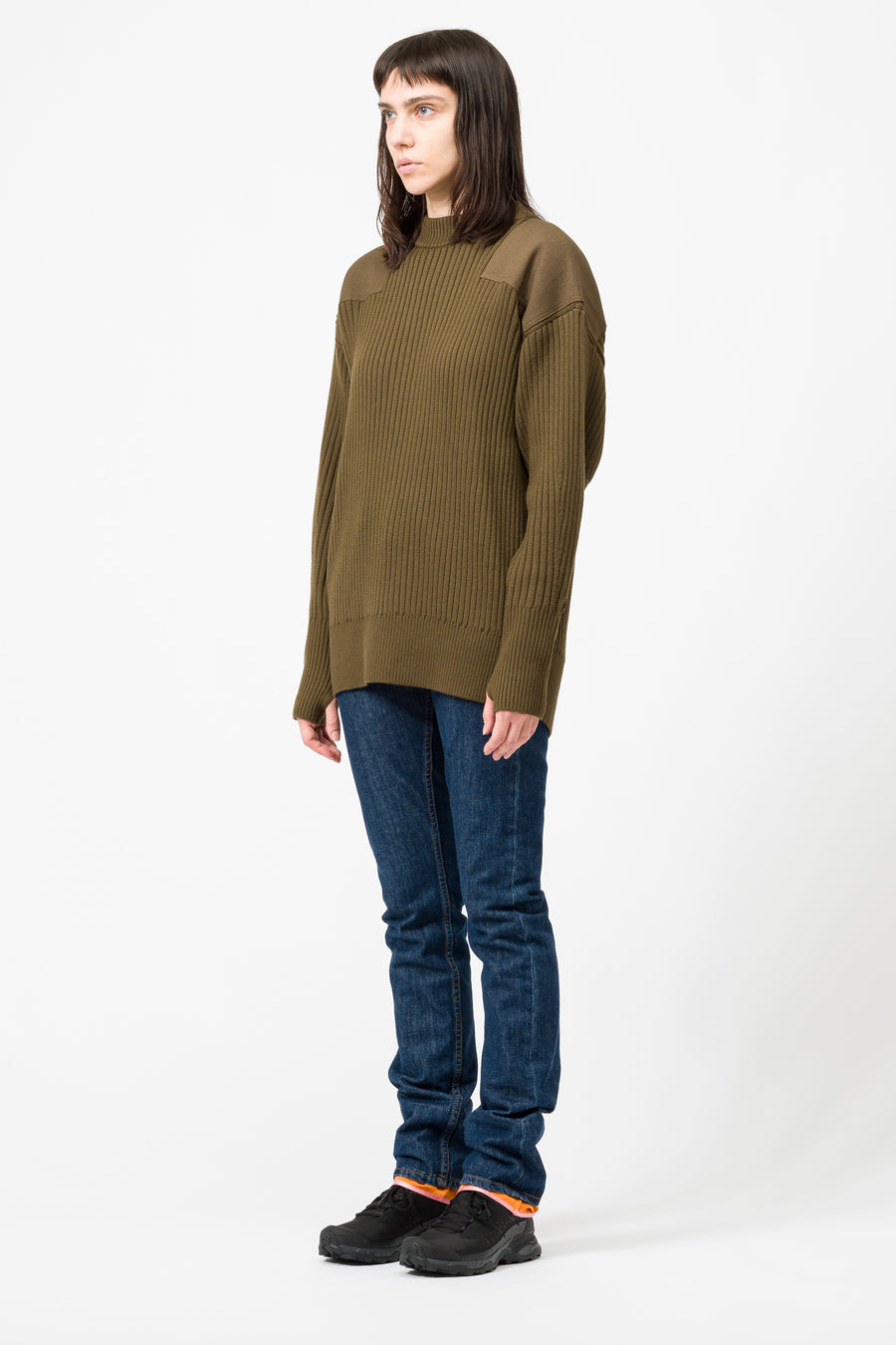 Hyke Knit Sweater in Olive Drab - Notre
