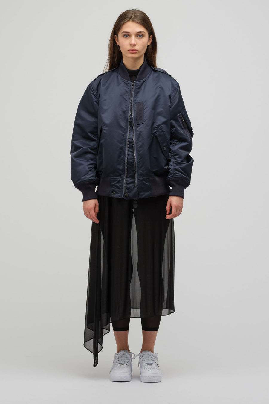HYKE Long Bomber Jacket in Navy - Notre