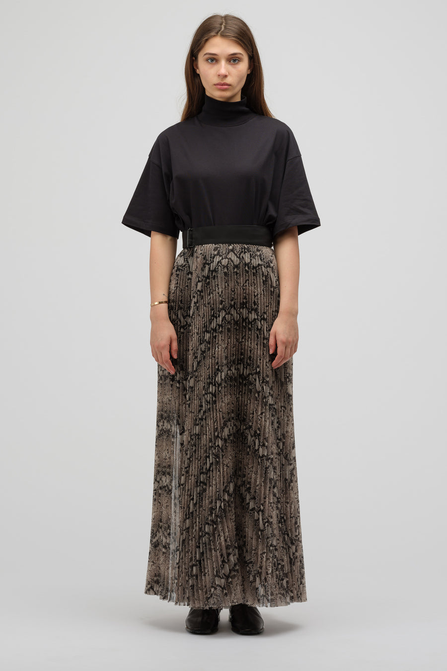 HYKE Pleated Wrap Maxi Skirt in Python - Notre