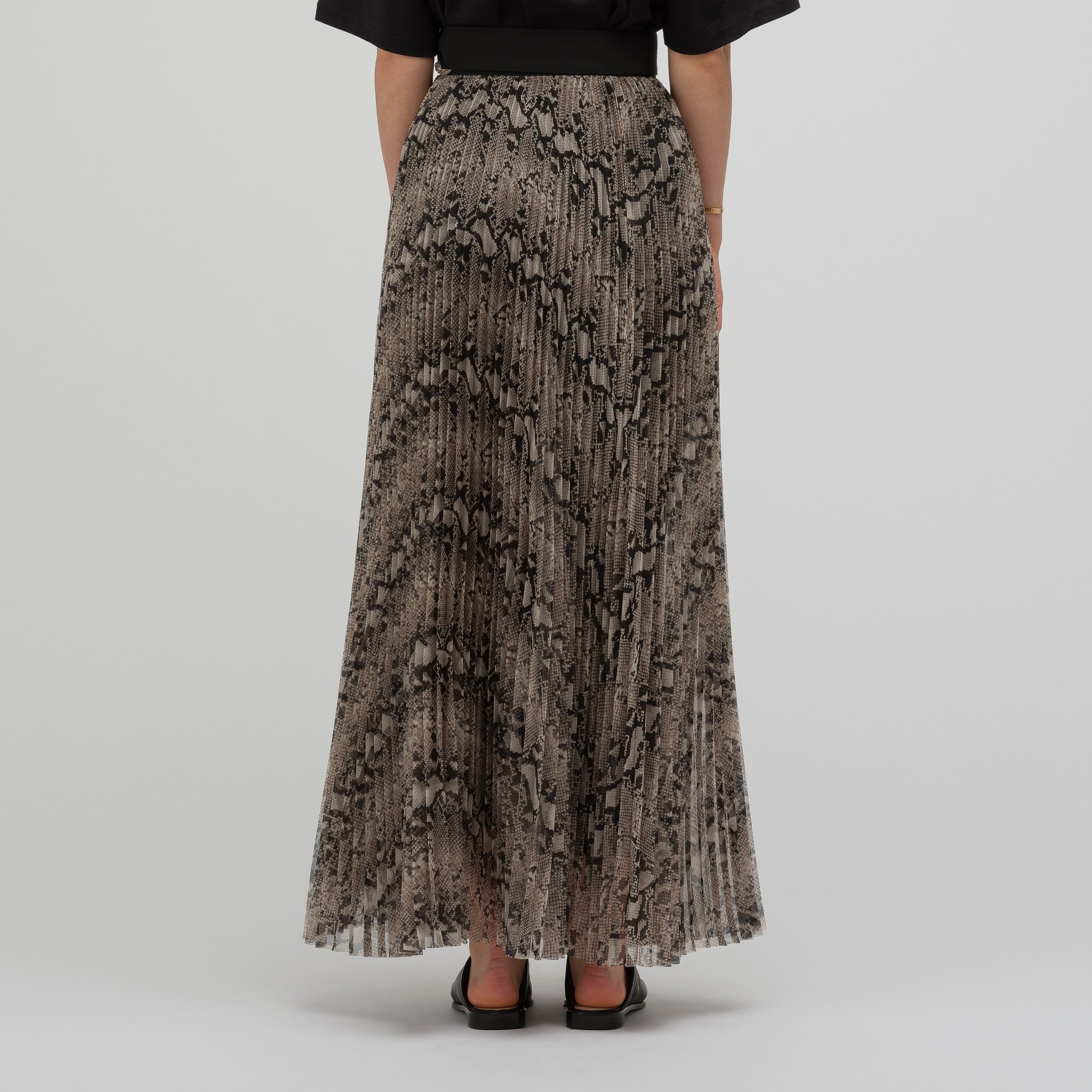 Pleated Wrap Maxi Skirt in Python