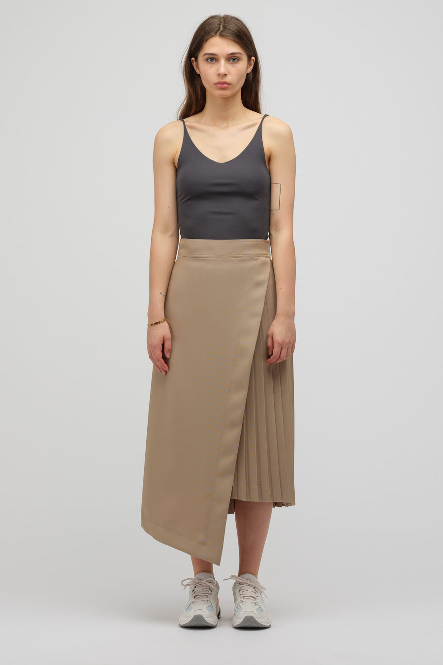 HYKE Pleated Wrap Maxi Skirt in Tan - Notre