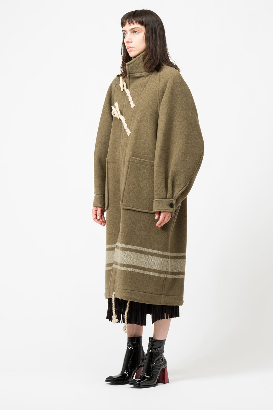 Hyke Rope Close Wool Coat in Olive Drab - Notre