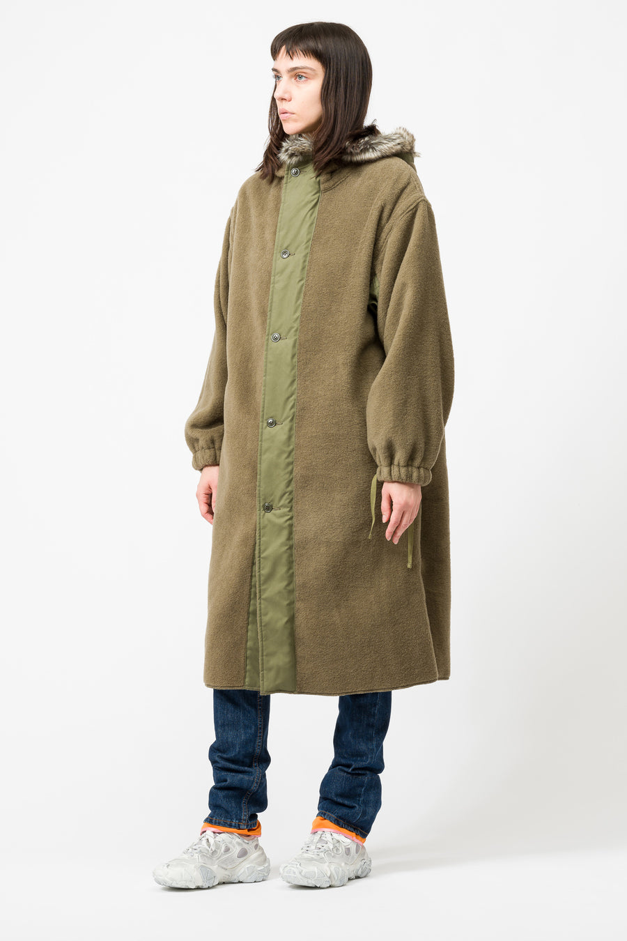 Hyke Wool Coat in Olive Drab - Notre