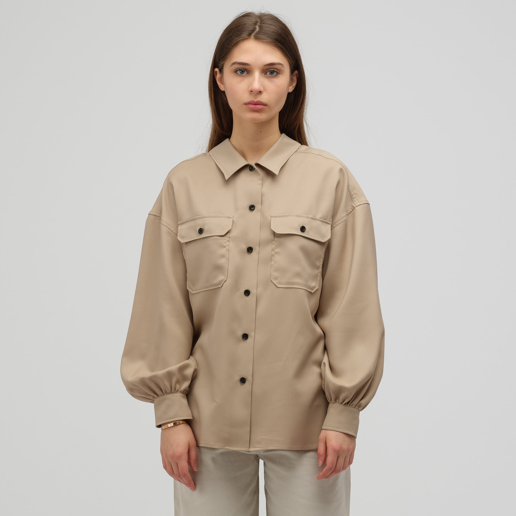 7b63413e HYKE Woven Button-Up Military Shirt in Tan | Notre