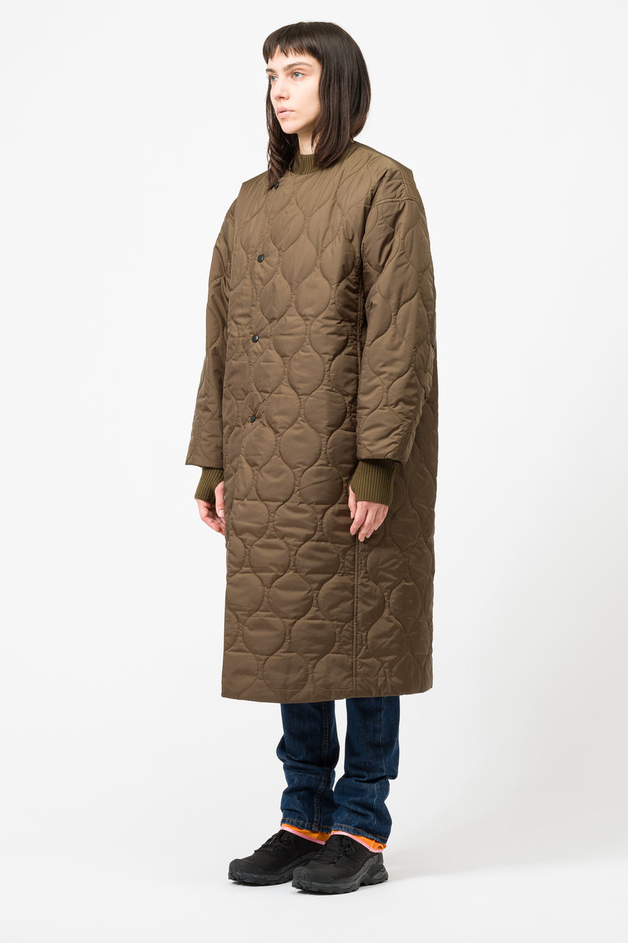 Hyke Woven Coat in Olive Drab - Notre