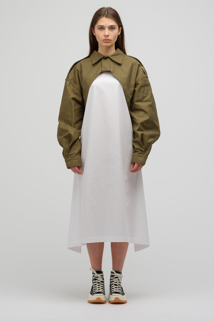 HYKE Woven Cutout Field Jacket in Olive Drab - Notre