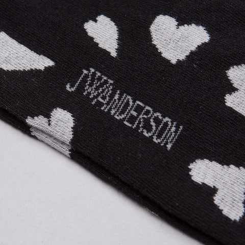 J.W. Anderson Hearts Socks in Black - Notre