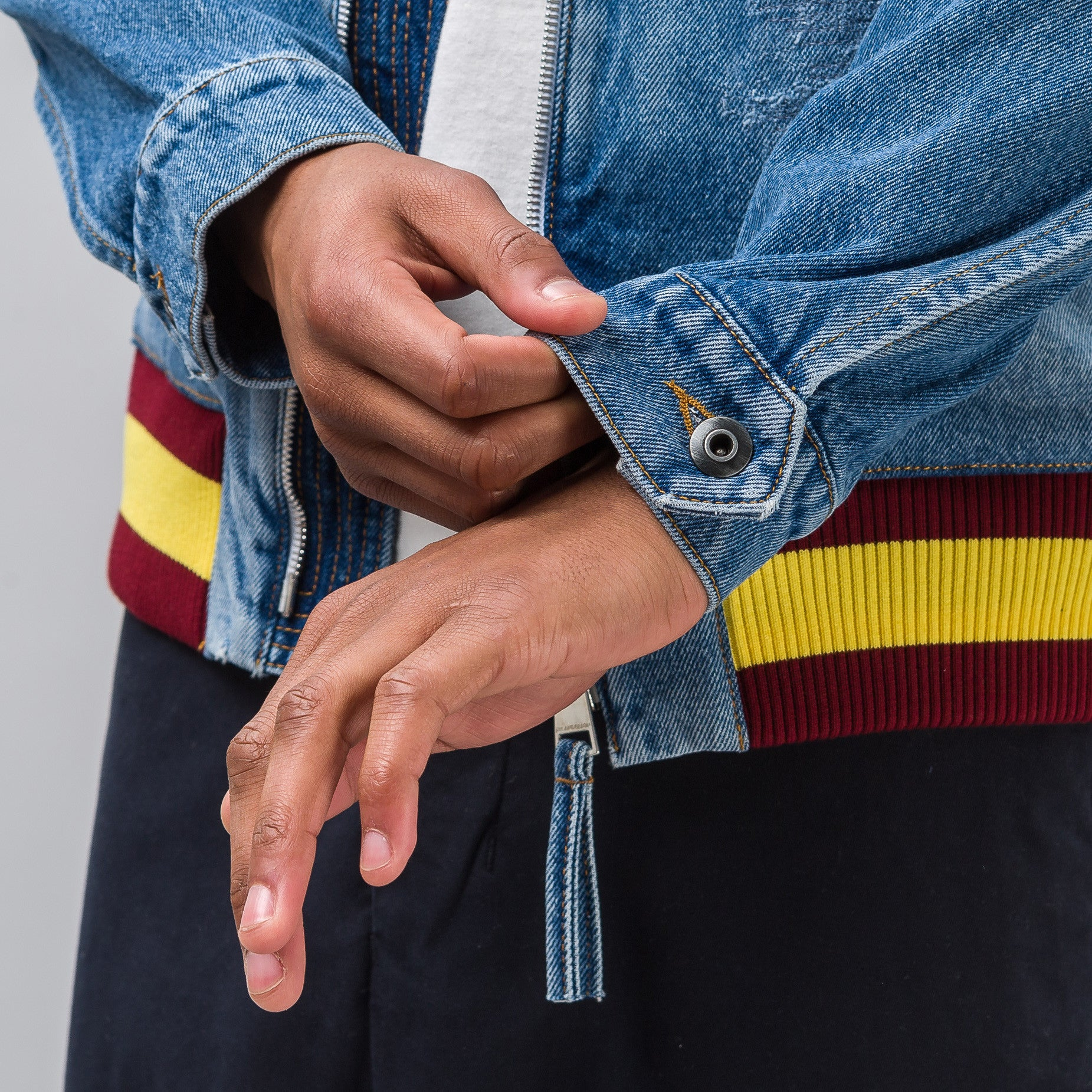 Bomber Jacket with Hood in Denim