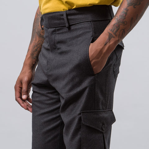 J.W. Anderson Cargo Trousers with Cuff Strap in Dark Grey Melange - Notre