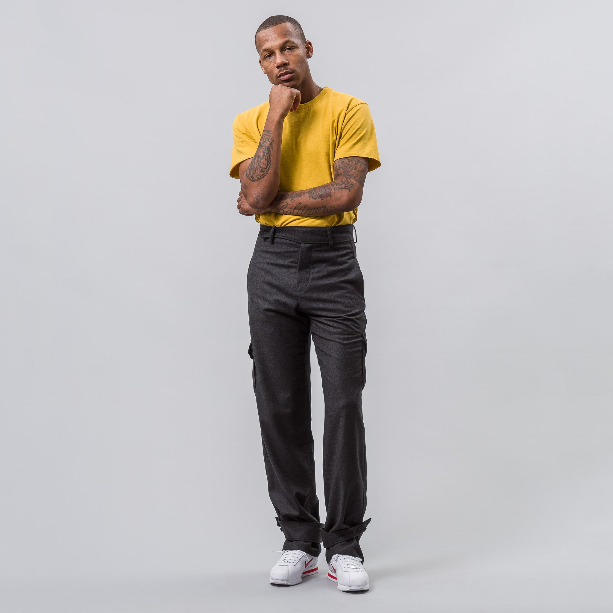Cargo Trousers with Cuff Strap in Dark Grey Melange