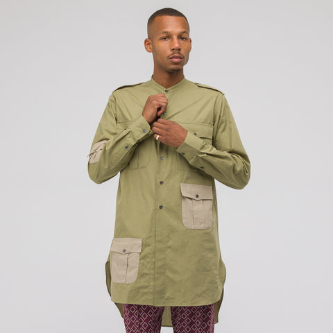 J.W. Anderson Contrast Pockets Workwear Long Shirt in Bamboo - Notre